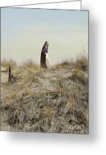 Young Woman In Cloak On A Hill Greeting Card