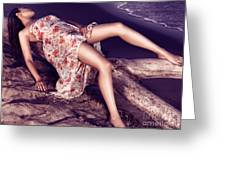 Young Woman In Dress Lying On Driftwood On A Shore Greeting Card