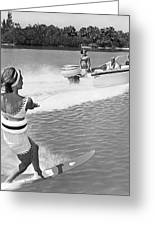 Young Woman Slalom Water Skis Greeting Card