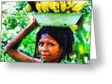 Young Woman With Bananas Greeting Card