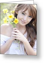 Young Woman With Flowers Greeting Card by Brandon Tabiolo