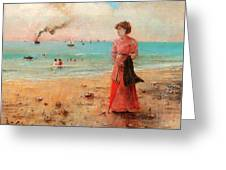 Young Woman With Red Umbrella Greeting Card