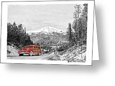 1946 Ford Special Deluxe Woody On Apache Summit Greeting Card