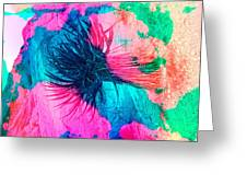Yucca Abstract Pink Blue Green Greeting Card