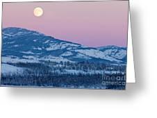 Yukon Canada Winter Landscape And Full Moon Rising Greeting Card