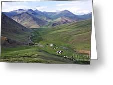Yurts In The Tash Rabat Valley Of Kyrgyzstan  Greeting Card