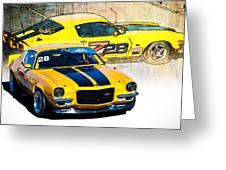 Yellow Z28 Camaro Greeting Card