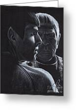 Zachary Quinto And Leonard Nimoy Greeting Card by Rosalinda Markle