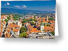 Zagreb Capital Of Croatia Aerial View Greeting Card