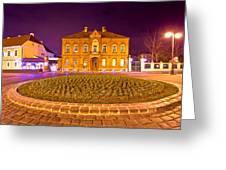 Zagreb Street Architecture Night Scene Greeting Card