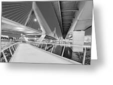 Zakim Bridge Twilight In Boston Bw Greeting Card