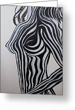 Zebra Body Paint Greeting Card