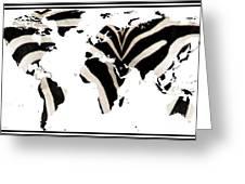 Zebra Fur World Map Greeting Card