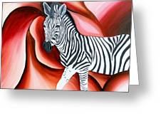 Zebra - Oil Painting Greeting Card by Rejeena Niaz