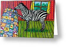 Zebra Quilting Greeting Card by Jay  Schmetz