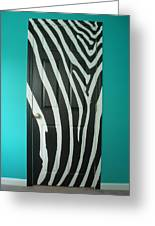 Zebra Stripe Mural - Door Number 1 Greeting Card & Zebra Stripe Mural - Door Number 1 Painting by Sean Connolly pezcame.com