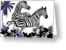 Zebras At Play Greeting Card