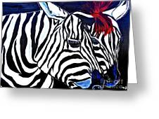 Zebras On A Blue Night Greeting Card
