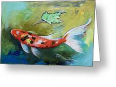 Zen Butterfly Koi Greeting Card by Michael Creese