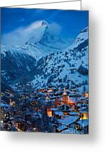 Zermatt - Winter's Night Greeting Card by Brian Jannsen