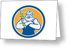 Zeus Greek God Arms Cross Thunderbollt Circle Retro Greeting Card