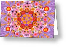 Zinna Flower Mandala Greeting Card