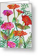 Zinnia And Ferns Greeting Card