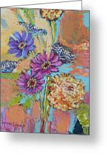 Zinnias From The Garden Greeting Card