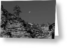 Zion National Park And Moon In Black And White Greeting Card