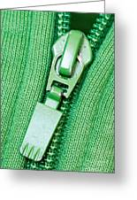 Zipper Of A Green Sweater Greeting Card