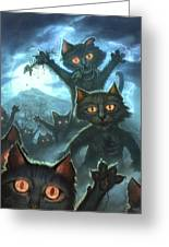 Zombie Cats Greeting Card