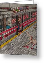 Zombies On The Red Line Greeting Card by Richie Montgomery