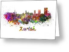 Zurich Skyline In Watercolor Greeting Card