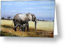 Elephant And Her Child Greeting Card