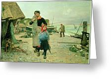 Fisherfolk Returning With Their Nets Greeting Card