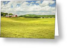 Hay Harvesting In Field Outside Red Barn Maine Greeting Card