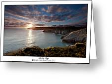 Lydstep Cliffs Sunset Greeting Card