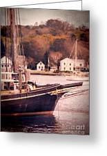 Old Ship Docked On The River Greeting Card