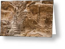 Stairs Lead Up A Rock Face In Little Greeting Card by Taylor S. Kennedy