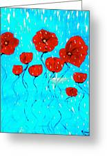 The Red Poppies Dancing In The Rain Greeting Card by Pretchill Smith