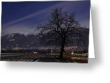Tree And Snow-capped Mountain Greeting Card