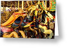 Wild Carrousel Horses  Greeting Card