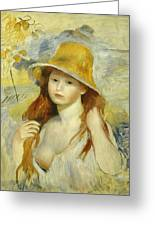 Young Girl With A Straw Hat Greeting Card
