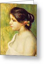 Young Woman With Flowers At Her Ear Greeting Card