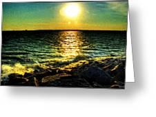0001 Windy Waves Sunset Rays Greeting Card