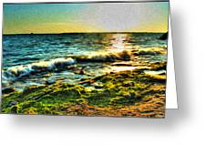 00015 Windy Waves Sunset Rays Greeting Card