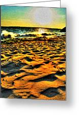 0008 Windy Waves Sunset Rays Greeting Card