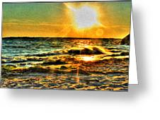 0009 Windy Waves Sunset Rays Greeting Card