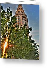 002 Electric Tower At Sunrise  Greeting Card