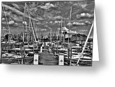 005bw On A Summers Day  Erie Basin Marina Summer Series Greeting Card